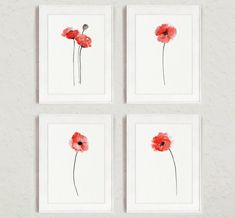Set of 4 Abstract Flowers, Red Poppy Watercolor Painting, Floral Home Decor, Poppies Art Print, Wall Hanging by ColorWatercolor on Etsy