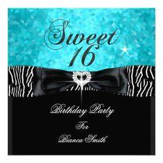 Sweet 16 Sweet Sixteen Turquoise  Black Zebra Announcement