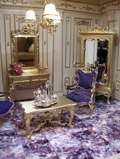 "Ken Haseltine Regent Miniatures ""The Pearl Room"" Miniature Rooms, Miniature Houses, Miniature Furniture, Dollhouse Furniture, Dollhouse Interiors, Barbie Diorama, Mini Doll House, Fairy Houses, Doll Houses"