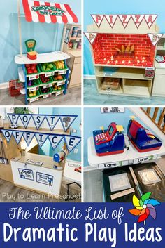 Huge List of Dramatic Play Ideas for Preschoolers 16 Fun and Creative Dramatic Play Centers for Pres Dramatic Play Themes, Dramatic Play Area, Dramatic Play Centers, Preschool Dramatic Play, Preschool Centers, Play Based Learning, Play Centre, Creative Play, Play To Learn