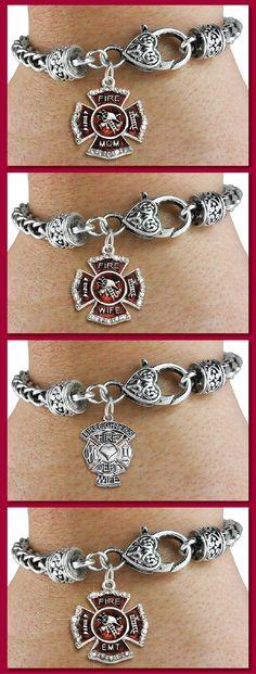 Fire EMT (Firefighter EMT) - Silver Bracelet w Austrian Crystal Silver Charm & Lobster Clasp
