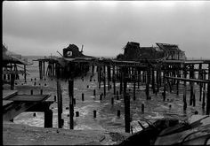 Pacific Ocean Park Pier after it burned down, creating a famous surf spot for the surfers of Dog Town.