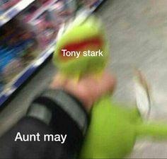 Except Stark isn't well adjusted enough to be Kermit. Marvel Funny, Marvel Memes, Marvel Dc Comics, Marvel Avengers, Marvel Actors, Eddsworld Memes, Funny Memes, True Memes, Hilarious Memes