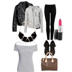 OOTD 2015.4.16 by momoko-kato on Polyvore featuring polyvore, fashion, style, James Perse, H&M, Forever New, Giuseppe Zanotti, Louis Vuitton and Amrita Singh