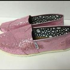 PINK GLITTER TOMS A great shoe for prom.  Worn gently and used for porm. TOMS Shoes Flats & Loafers