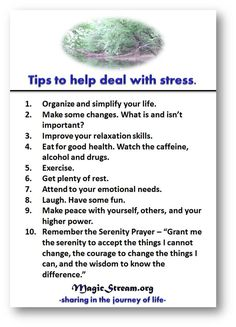 Tips on dealing with stress.  #selfhelp #recovery #stress