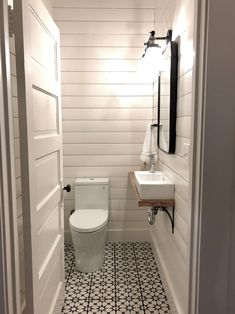 Home Remodel Plans One Room Challenge Week One: Tiny Powder Room Makeover Ideas.Home Remodel Plans One Room Challenge Week One: Tiny Powder Room Makeover Ideas Small Half Bathrooms, Small Half Baths, Small Bathroom Sinks, Small Sink, Tiny Bathrooms, Bathroom Ideas, Tiny Half Bath, Shiplap Bathroom, Concrete Bathroom