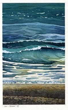 Cold Sea by Iain Stewart Watercolor ~ 10 x 6 Seascape Paintings, Landscape Paintings, Watercolor Paintings, Watercolors, Landscapes, Watercolor Ocean, Watercolor Landscape, Watercolor Classes, Illustration
