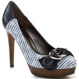 Candy cane stripes have never looked sweeter in this pretty pump from Guess.  Rasputin 2 has a  4 1/2 inch heel with a 3/4 inch platform.  This closed toe style has a blue buckle detail at the vamp and a multi striped fabric.