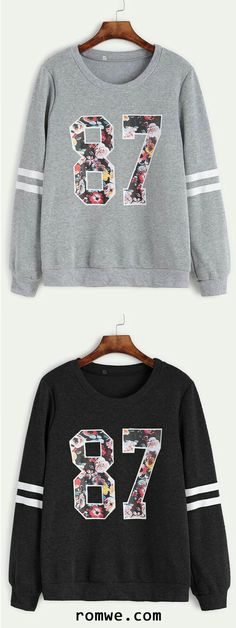 Varsity Print Sweatshirt 1987 the year Lee Minho was born. Winter Outfits, Casual Outfits, Fashion Outfits, Womens Fashion, Fashion Trends, Printed Sweatshirts, Hoodies, Robes Vintage, Winter Stil
