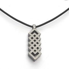 Mens Steel #Celtic Weave Pendant on Black Leather Necklace Cord