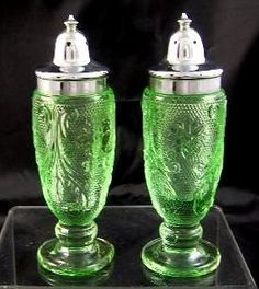 Green Depression Glass Salt & Pepper Shakers