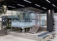 between space kt&g Office Space Design, Office Interior Design, Office Interiors, Industrial Office Space, Office Workspace, Office Spaces, Lobby Design, Glass Floor, Retail Interior