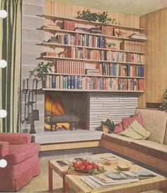 I'm loving this Mid-Century Modern fireplace/bookcase from VintageGoodness --the wood paneling, not so much, but cozying around this off-cen. Fireplace Bookshelves, Fireplace Wall, Fireplace Design, Bookcases, Decorate Bookshelves, Basement Fireplace, Craftsman Fireplace, Fireplace Garden, Fireplace Furniture