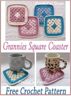Simple and easy grannies square coaster pattern, good one for beginner crocheters, find the FREE crochet pattern on crochetncreate. Crochet Coaster Pattern, Crochet Motif, Free Crochet, Crochet Patterns, Crochet Dishcloths, Crochet Blankets, Crochet Kitchen, Crochet Home, Baby Bonnet Pattern Free