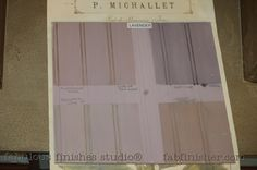 LAVENDER- pale greyish purple- shown with various glazes and/or tinted waxes - so many options, so many finishes.. can glaze right over the paint, ,no topcoat barrier required.  New botanical paints by Caromal Colours - chalk paint on steroids! Adheres to nearly any surface, covers amazing, little to no brush marks, does not require a wax or topcoat.   Fully stocked store (Metro Detroit) and online shop.fabfinisher.com