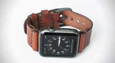 Leather Apple Watch Strap Handmade italian vegetable tanned band with adapters