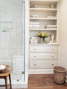 Beautiful built-ins in the bath.