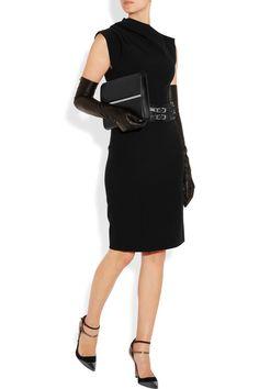 Lanvin Double knit stretch-ponte dress with: Lanvin gloves, Jimmy Choo belt, Oscar de la Renta shoes, Maison Martin Margiela clutch.