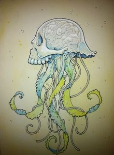 jelly skull: watercolor / gouche / ink on watercolor paper. 2010