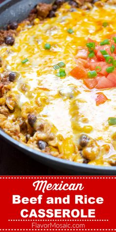 With its taco seasoned ground beef, onion, garlic, bell pepper, rice, salsa, green chilies, corn, beef broth, and black beans, this Beef And Rice Casserole will make any Mexican Food lover's heart go pitter-pat with happiness!   #BeefAndRice #BeefAndRiceCasserole #MexicanBeefAndRice #MexicanGroundBeefAndRice #Casserole #FlavorMosaic Ground Beef Rice, Ground Beef Tacos, Beef And Rice, Ground Beef Recipes, Hamburger And Rice Recipes, Hamburger Rice Casserole, Mexican Ground Beef Casserole, Mexican Casserole, Chicken Casserole