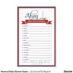 Nautical Baby Shower Game - Baby Word Scramble Stationery