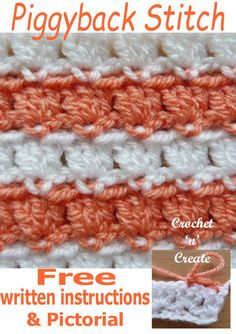 The crochet piggyback stitch pictorial has been added to my stitch library, it is an easy stitch pattern that can be used in many projects such as blankets, dishcloths, table mats etc. Crochet Box, Single Crochet, Crochet Hooks, Crochet Stitches Free, Free Crochet, Different Crochet Stitches, Stitch Patterns, Crochet Patterns, Afghan Patterns