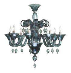 Treviso 8 Light Dark Blue Smoke Murano Glass Style Chandelier