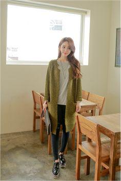 Baisel Embo Cardigan   Korean Fashion