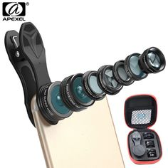 APEXEL 7 in 1 Phone Camera Lens Kit Fish Eye Wide Angle/macro Lens CPL Kaleidoscope and 2X telephoto zoom Lens for iPhone6s 7DG7 //Price: $20.92//     #Gadget