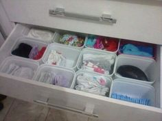 8 Brilliant Ways to Reuse Baby Wipes Containers - Quickly drop kids' socks and underwear into these perfect drawer organizers.