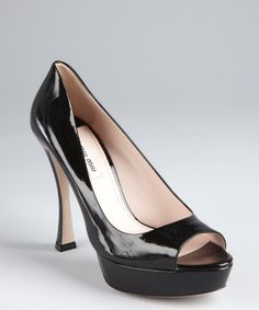 44776b09b6c9 Miu Miu black patent leather open toe flared heel pumps