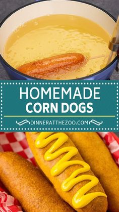 These homemade corn dogs are easy to make and fun to eat! Hot Dog Recipes, Beef Recipes, Cooking Recipes, Health Recipes, Soup Recipes, Good Food, Yummy Food, Tasty, Appetizer Recipes