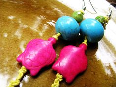 Turquoise and Gemstone Turtle Beaded Hemp by TheHempButterfly, $10.00