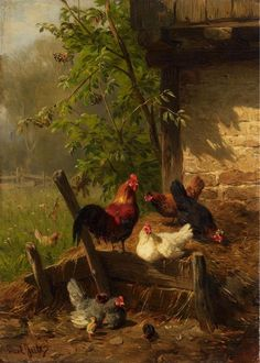 "malemalefica: ""By Carl Jutz the Elder (1838 Windschläg - 1916 Pfaffendorf ) ""CHICKEN YARD"" """