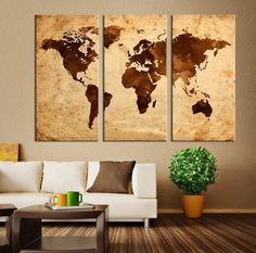 """Large Art Canvas Print Brown Retro Watercolor World Map on Old Paper Canvas Print Retro 3 - 12""""x24"""" (36""""x24"""")"""