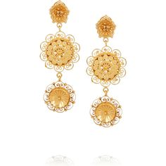 Dolce & Gabbana Filigree gold-plated Swarovski crystal clip earrings (£291) ❤ liked on Polyvore featuring jewelry, earrings, d&g, gold plated jewelry, flower jewelry, swarovski crystal earrings, clip back earrings and flower drop earrings