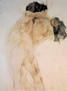 Auguste Rodin Two Embracing Figures Graphite with grey and yellowish-brown wash on white wove paper Ashmolean Museum