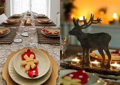 déco table de Noël: ronds de serviettes en biscuits et bougeoir-cerf
