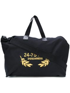 DSQUARED2 24-7 Embroidered Duffel Bag. #dsquared2 #bags #canvas #leather #polyester #shoulder bags #hand bags #cotton #