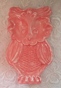 Owl Coral Soap Dish Spoon Rest Trinket Dish by Angelheartdesigns