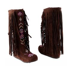 Eclimb Women's Tassel Faux Suede Moccasin Mid-calf Knee High Boots >>> Read more reviews of the product by visiting the link on the image.
