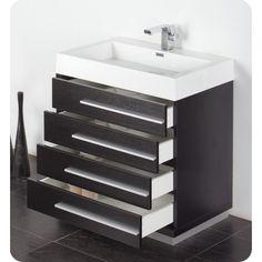 Fresca Livello 30 Black Modern Bathroom Vanity Medicine Cabinet