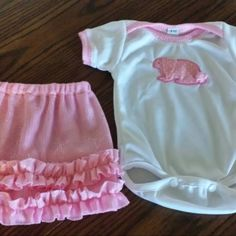 Happy Bunny Baby Girl in Ruffled Skirt and knit Romper