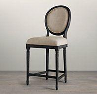Vintage French Round Upholstered Counter Stool  Restoration hardware