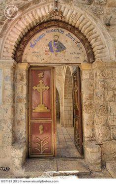 Door of St. Marks Church, Jerusalem, Israel.
