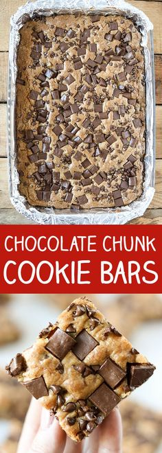Eat Stop Eat To Loss Weight - Chocolate Chunk Chocolate Chip Cookie Bars - In Just One Day This Simple Strategy Frees You From Complicated Diet Rules - And Eliminates Rebound Weight Gain Just Desserts, Delicious Desserts, Yummy Food, Cookie Recipes, Dessert Recipes, Bar Recipes, Skillet Recipes, Cream Recipes, Chocolate Chip Cookie Bars