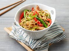 Stir-Fried Noodles : Treat cooked noodles like leftover rice and stir-fry them quickly in a hot pan with chopped veggies and leftover cooked meat. Hit with soy sauce to finish. Long noodles are the classic choice here, but short pasta shapes like orzo would work well too.