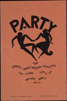 harlem renaissance party invitation for Grace and James Weldon Johnson. Drawing by Aaron Douglas.