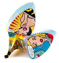 Retro pulp romance comics on the soles of these killer Lichtenstein inspired heels!